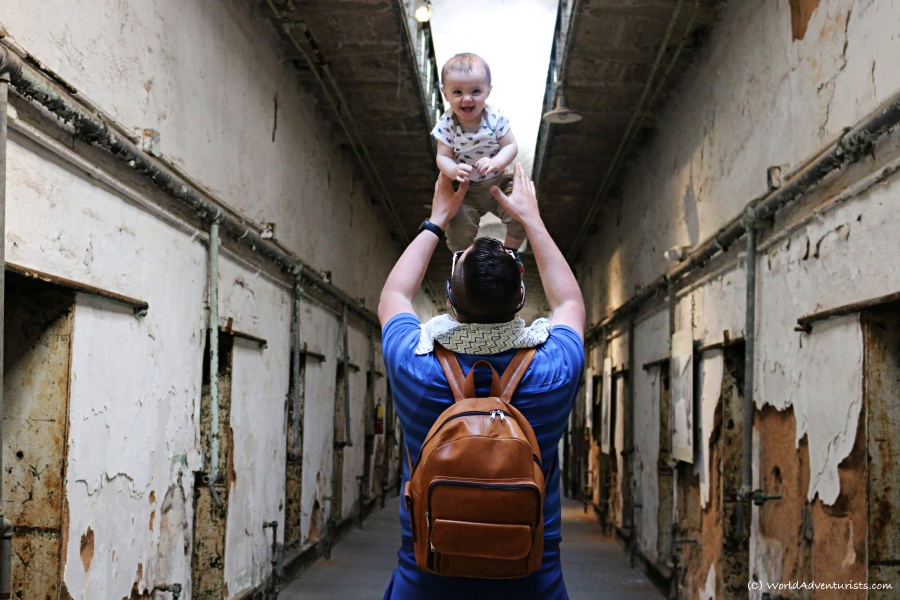 Baby and Dad exploring the Eastern State Penitentiary