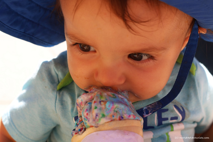 Little boy enjoying some ice cream