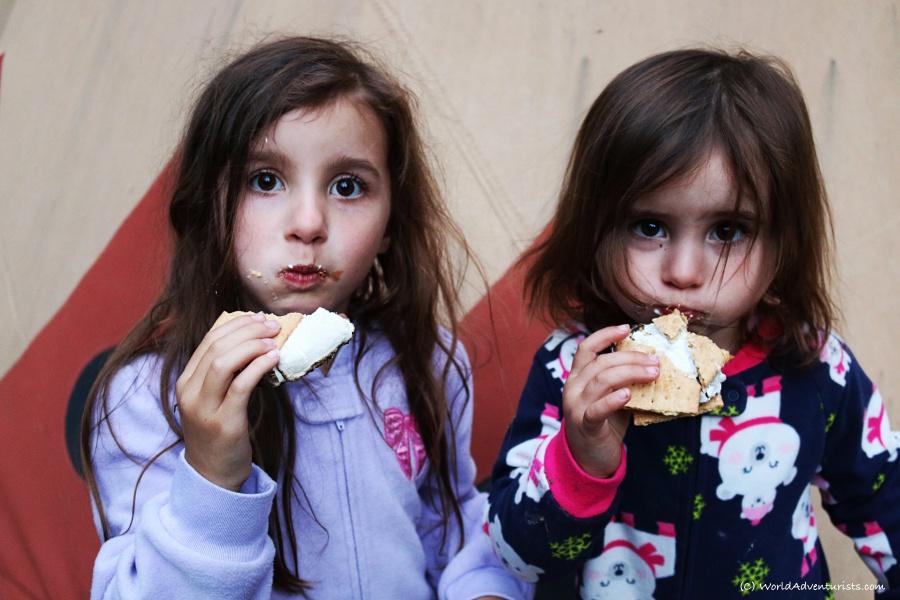 Girls enjoying some s'mores