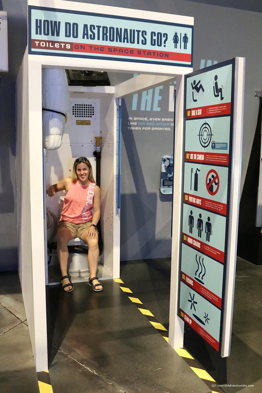 How do astronauts use a washroom?