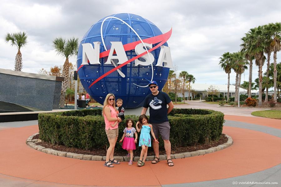 Family photo at NASA's Kennedy Space Center