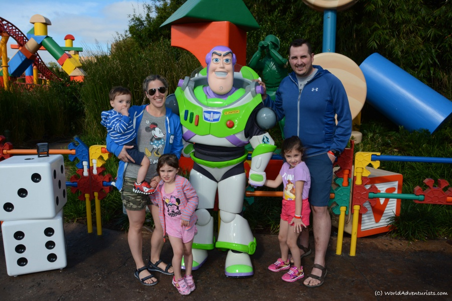 Family photo with Buzz Lightyear at Disney World