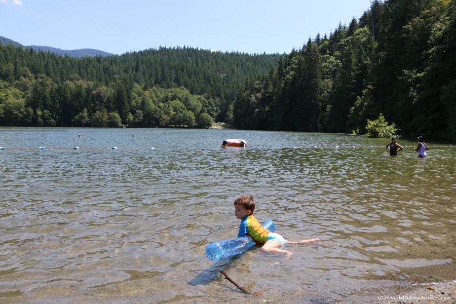 Swimming in the water at Alice Lake in Squamish