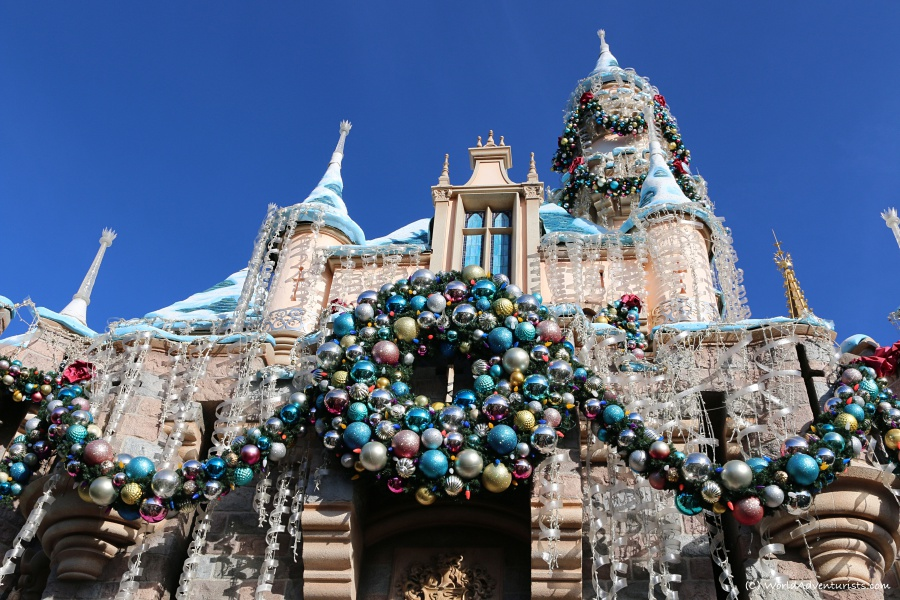 Disneyland castle all decorated for Christmas