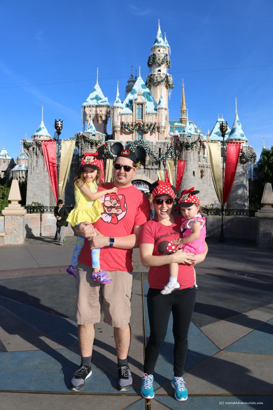 A family photo at Disneyland at Christmas