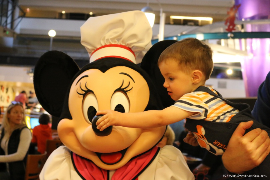 Jacob honking Minnie Mouse's nose