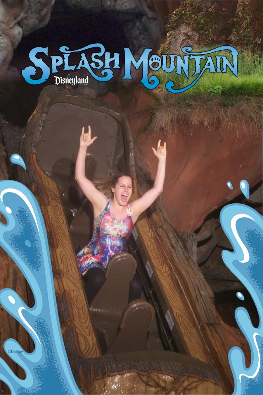 Girl riding Splash Mountain alone