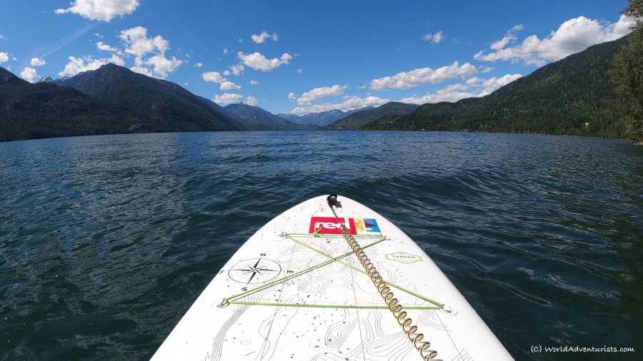Stand up paddleboarding on Slocan Lake In New Denver