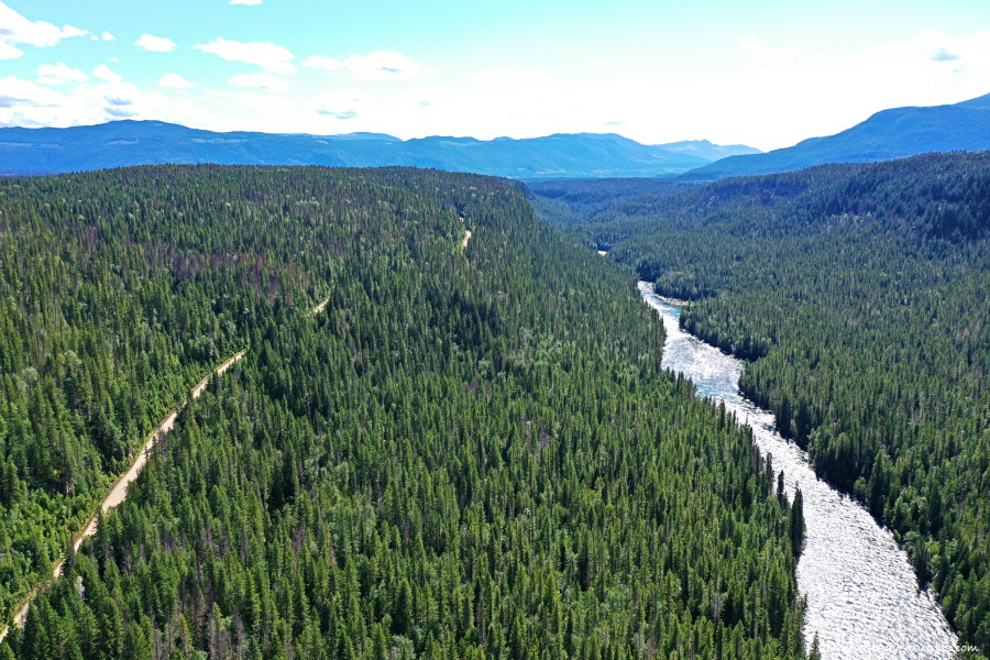 Aerial views of mountain, trees, a river and dirt road at Wells Gray Provincial park