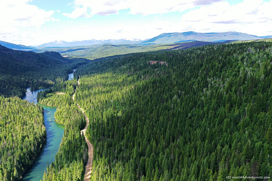 An aerial view of Wells Gray Provincial park