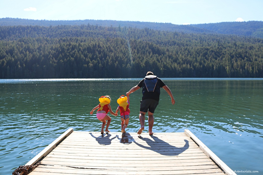 Jumping into Clearwater Lake at Wells Gray Provincial Park