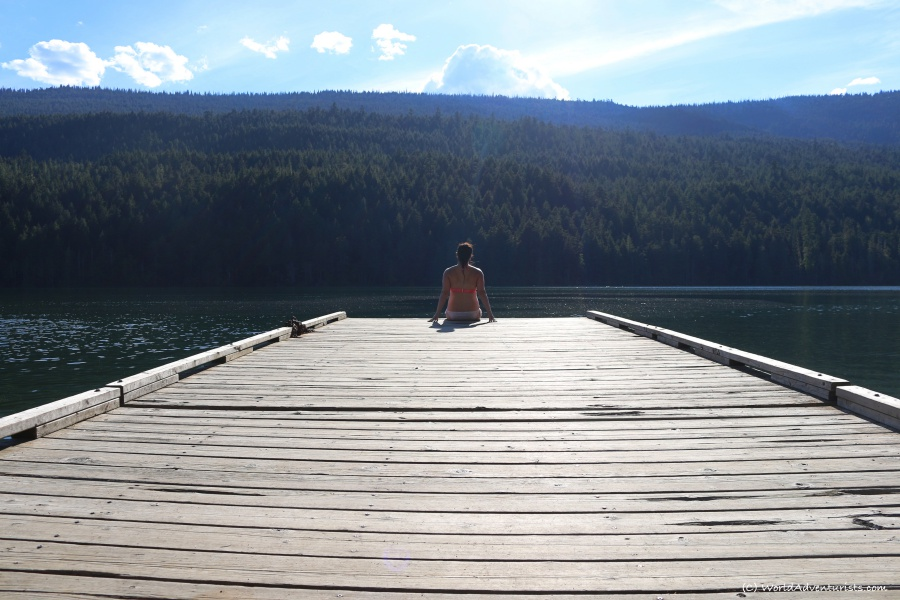 Relaxing on the dock at Clearwater Lake at Wells Gray Provincial Park