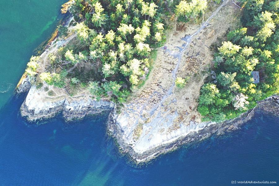 Aerial views at Bellhouse Park on Galiano Island