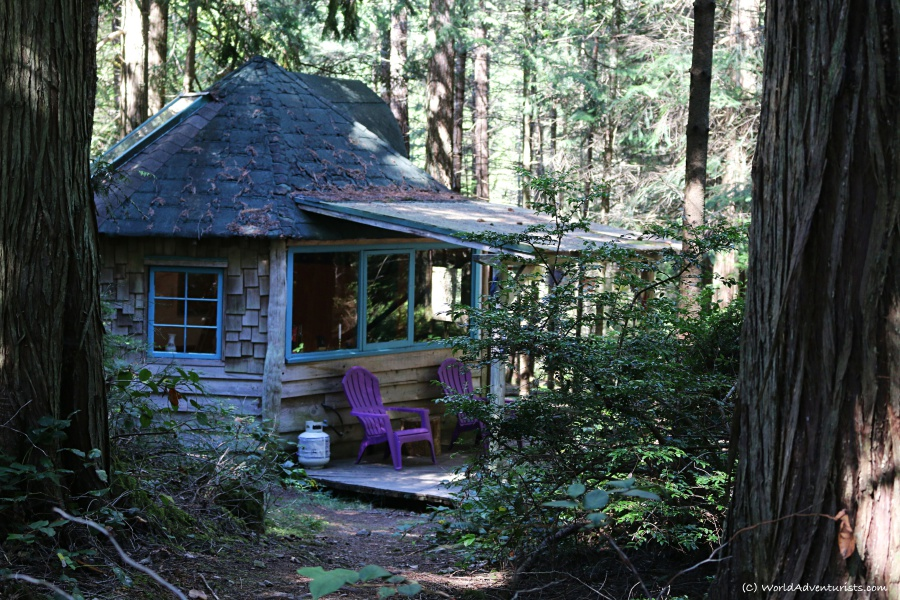 A rustic cabin in the woods on Galiano Island