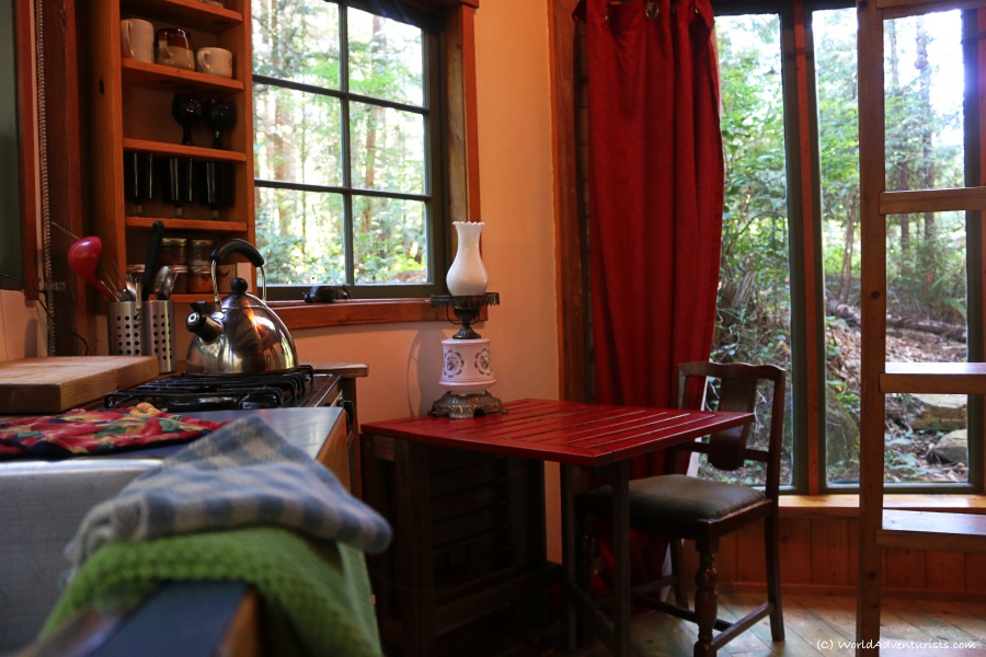 Interior of the Rustic cabin in the woods on Galiano Island