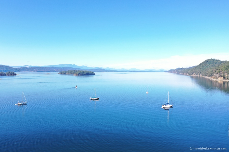 Aerial views at Montangue Harbour Provincial Park on Galiano Island