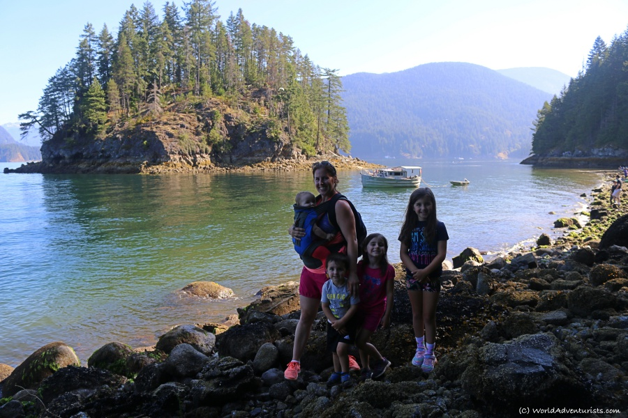 Family reaching the Jug Island view In Belcarra Regional Park