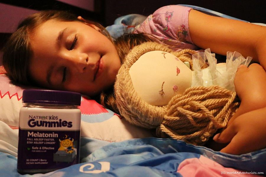 Natrol Melatonin Kids Gummies -- young girl getting a good night sleep
