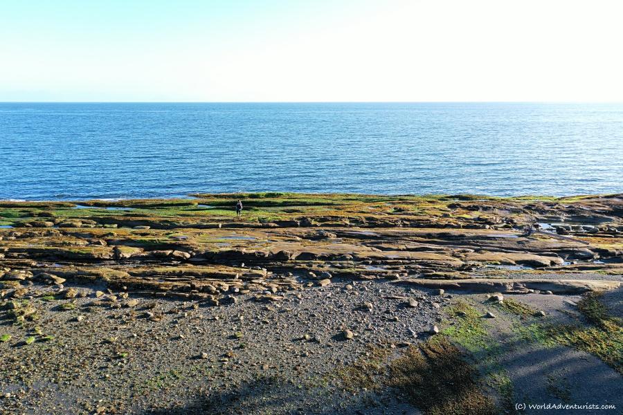 Aerial view of pebble beach on Galiano Island