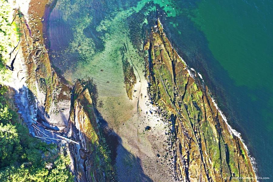 Bird's eye view of pebble beach on Galiano Island