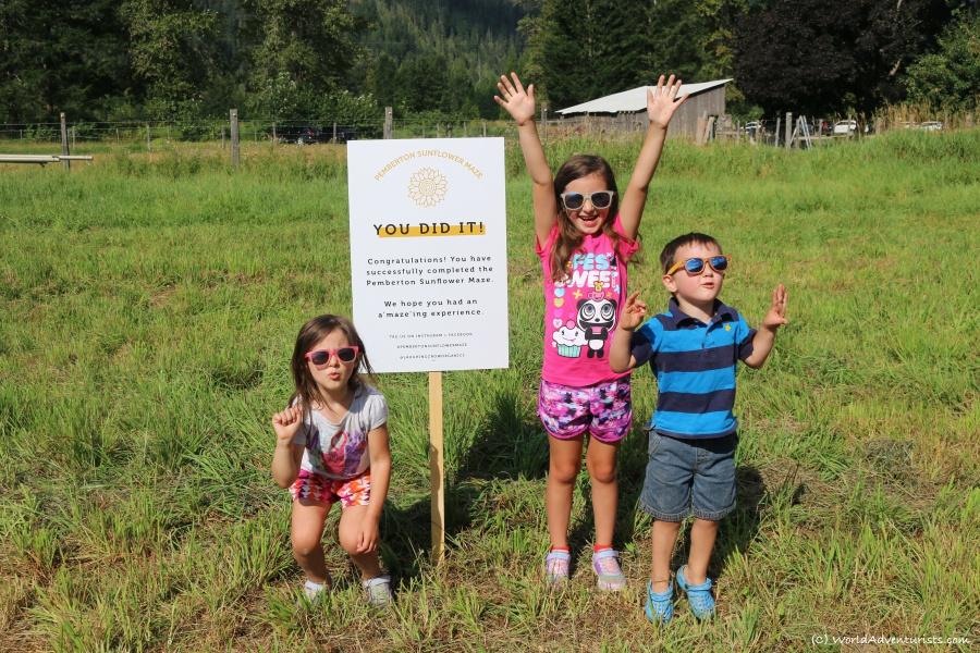 Kids celebrating after completing the Pemberton sunflower maze