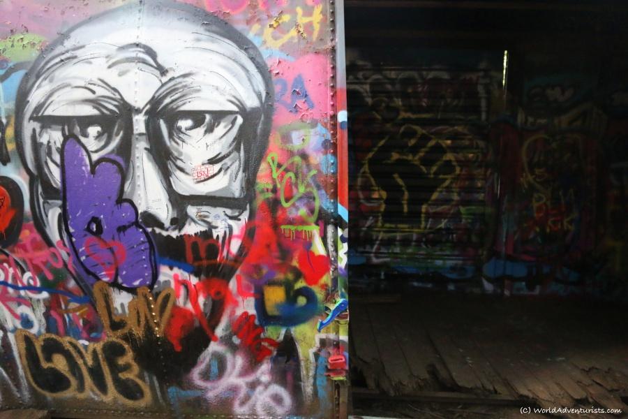 Whistler train wreck box car and graffitti