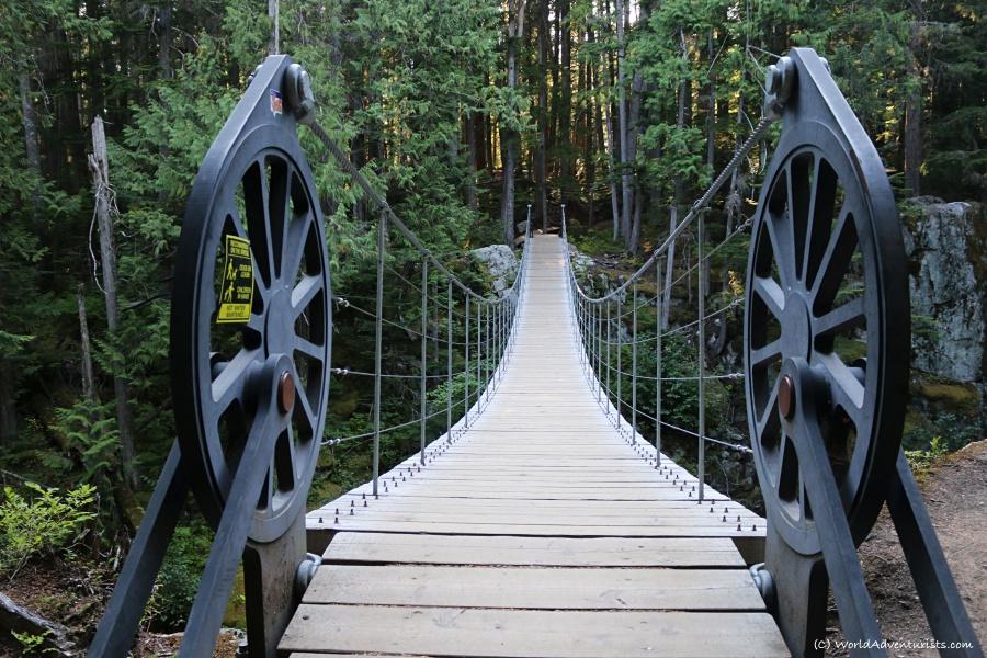 Locomotive inspired suspension bridge over Cheakamus River in whistler