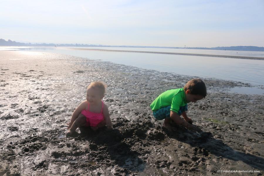 Kids having a beach day at White Rock beach
