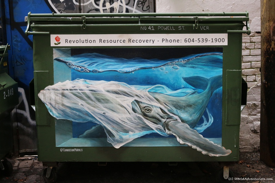 Vancouver Mural Festival trash can whale art